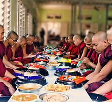 Giving Thanks to Buddha for Meal by Claude LeTien