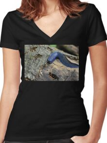Big blue slug  Women's Fitted V-Neck T-Shirt