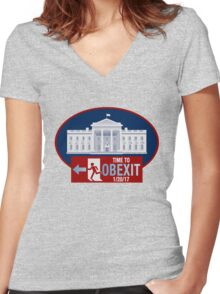 OBEXIT - End of Obama Term - Impeach Obama - 2016 Elections - Politically Incorrect - EXIT Obama Women's Fitted V-Neck T-Shirt