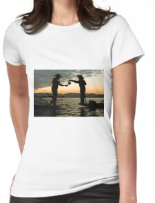 Myanmar, Shan state, Inle lake, two fishermen drinking tea at dusk  Womens Fitted T-Shirt