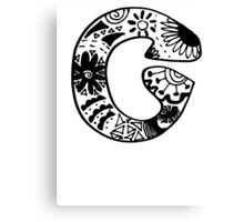 "Hipster Letter ""C"" Zentangle Canvas Print"