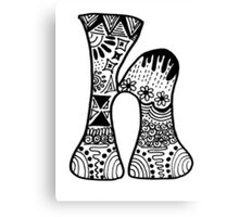 "Hipster Letter ""H"" Zentangle Canvas Print"