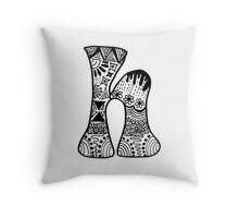 "Hipster Letter ""H"" Zentangle Throw Pillow"
