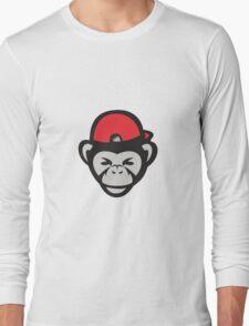 Chimpanzee Head Baseball Cap Retro Long Sleeve T-Shirt
