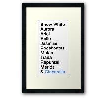 Princess Names - Cinderella Framed Print