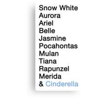 Princess Names - Cinderella Canvas Print