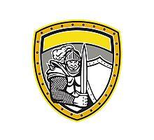 Knight Full Armor Open Visor Sword Shield Crest Retro Photographic Print