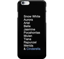 Princess Names (white text) iPhone Case/Skin