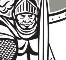 Knight Full Armor Open Visor Sword Shield Crest Retro Sticker