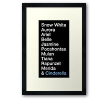 Princess Names (white text) Framed Print