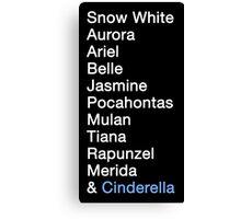 Princess Names (white text) Canvas Print