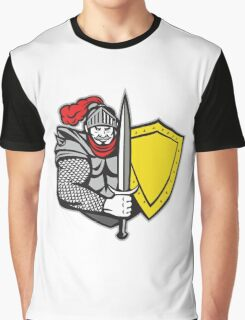 Knight Full Armor Open Visor Sword Shield Retro Graphic T-Shirt