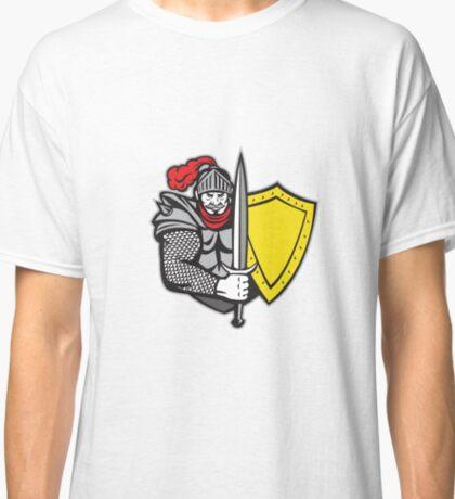 Knight Full Armor Open Visor Sword Shield Retro Classic T-Shirt