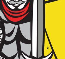 Knight Full Armor Open Visor Sword Shield Retro Sticker