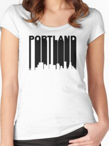 Retro Portland Cityscape Women's Fitted Scoop T-Shirt