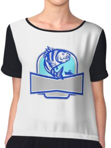Sheepshead Fish Jumping Fishing Boat Banner Retro Chiffon Top