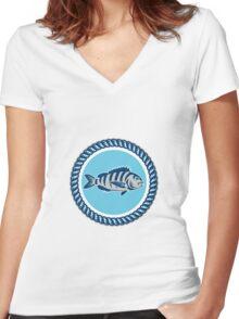 Sheepshead Fish Rope Circle Retro Women's Fitted V-Neck T-Shirt