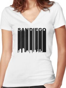Retro San Diego Cityscape Women's Fitted V-Neck T-Shirt