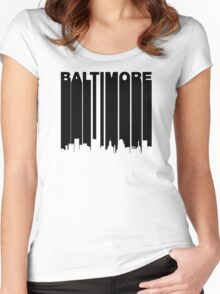 Retro Baltimore Cityscape Women's Fitted Scoop T-Shirt