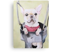 Frenchie On A Swing  Canvas Print