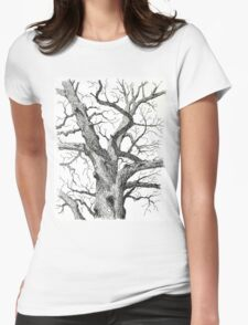 Old Bur Oak in Ink Womens Fitted T-Shirt