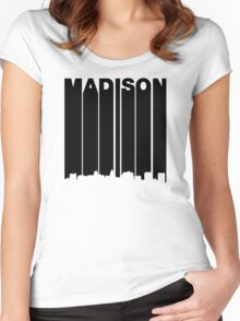 Retro Madison Cityscape Women's Fitted Scoop T-Shirt