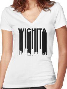 Retro Wichita Cityscape Women's Fitted V-Neck T-Shirt
