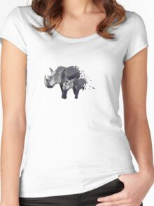 Geometric Marching Rhinos Women's Fitted Scoop T-Shirt
