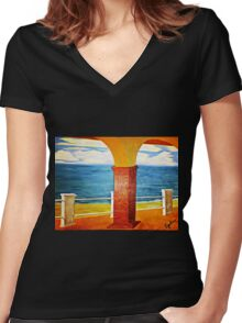 Ocean View Under the Arch Women's Fitted V-Neck T-Shirt