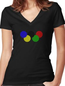 Olympic rings Women's Fitted V-Neck T-Shirt