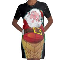 Santa Claus on the Roof Graphic T-Shirt Dress