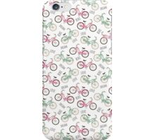 Pink and pale green retro bikes. iPhone Case/Skin