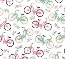 Pink and pale green retro bikes. Sticker