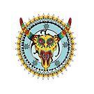 Decorative Taurus sign on the ornamental background by Maryna  Rudzko