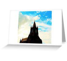 Black Church in Blue Greeting Card