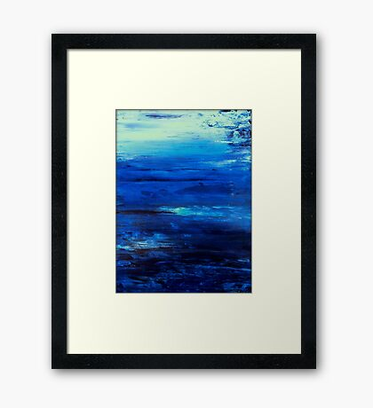 """Large, Abstract art, Contemporary art, Painting 36"""" Original abstract painting textured Painting abstract painting art  OCEAN MIST Framed Print"""