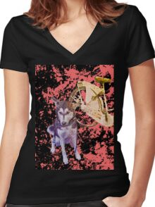 Shiva and her Bike Ruby Women's Fitted V-Neck T-Shirt