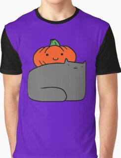 Cat and Pumpkin Graphic T-Shirt