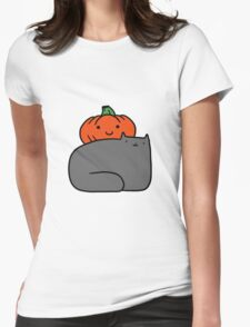 Cat and Pumpkin Womens Fitted T-Shirt