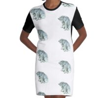 Polar Bear Mother and Cub Graphic T-Shirt Dress