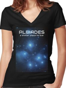 Visit the Pleiades Women's Fitted V-Neck T-Shirt