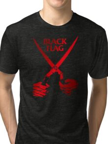 Retro Punk Restyling   - Black Flag red scissors Tri-blend T-Shirt