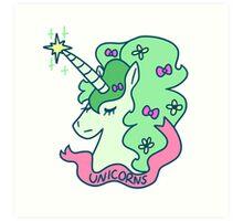 Green Haired Unicorn Art Print