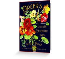 """""""DREERS"""" Vintage 1899 Garden Calendar Print Greeting Card"""