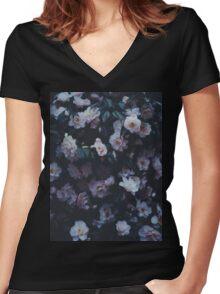 Dark Flowers Women's Fitted V-Neck T-Shirt