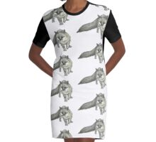 Silver Tail Fox Graphic T-Shirt Dress