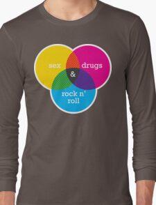 Sex, drugs and Rock n' Roll Venn Diagram Long Sleeve T-Shirt