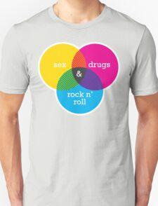 Sex, drugs and Rock n' Roll Venn Diagram T-Shirt