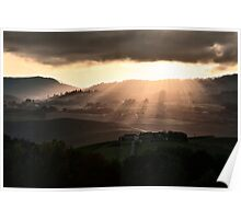 Sunset in Val 'Orcia Poster