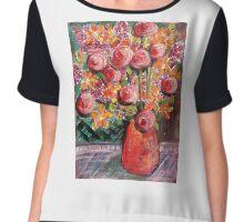 Orange and peach bouquet Chiffon Top